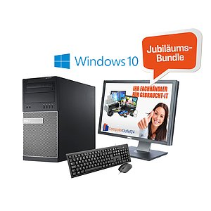 AKTIONS-BUNDLE: Dell Optiplex 7010 Tower + Dell UltraSharp U2412MB IPS + Windows 10