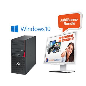 AKTIONS-BUNDLE: Fujitsu Esprimo P556 E85+ Tower + Fujitsu ScenicView B22W-7 LED + Windows 10