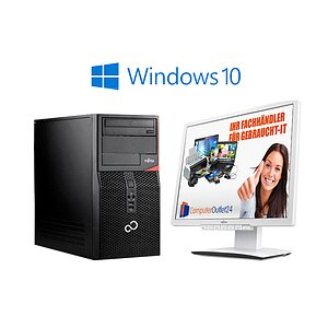 AKTIONS-BUNDLE: Fujitsu Esprimo P520 E85+ Tower + Fujitsu ScenicView B24W-6 LED + Windows 10