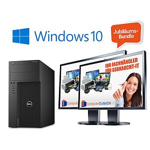 Jubiläums-BUNDLE - Top High-End Leistung! Dell Precision T3620 + 2x Eizo 61,0 cm (24