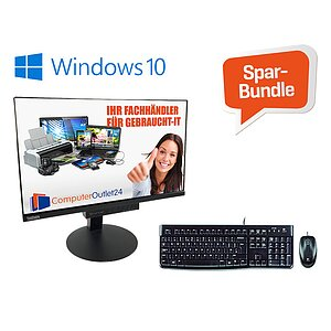 AKTIONS-BUNDLE - sofort Loslegen mit dem leistungsstarken All-in-One PC: Lenovo ThinkCentre M710q + Maus/Tastatur-Set + Windows 10 + 2 Jahre CO24-Garantie